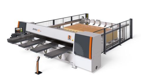 The horizontal pressure beam saw ZENTREX 6215 lift with standard lifting table for batch processing